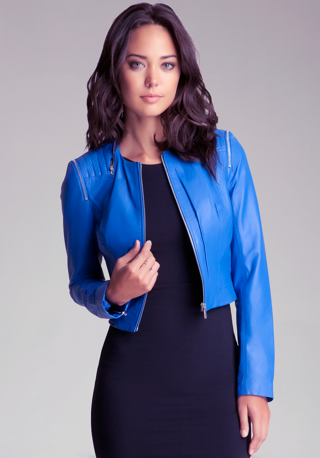 Lyst Bebe Quilted Zipper Leather Jacket In Blue