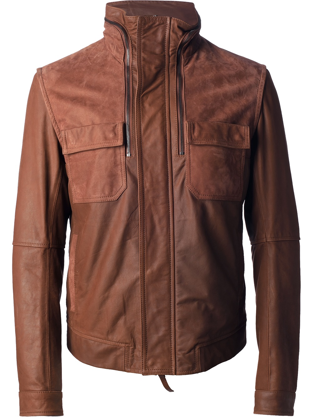 f8f632a30acf Lyst - Emporio Armani Leather Jacket in Brown for Men