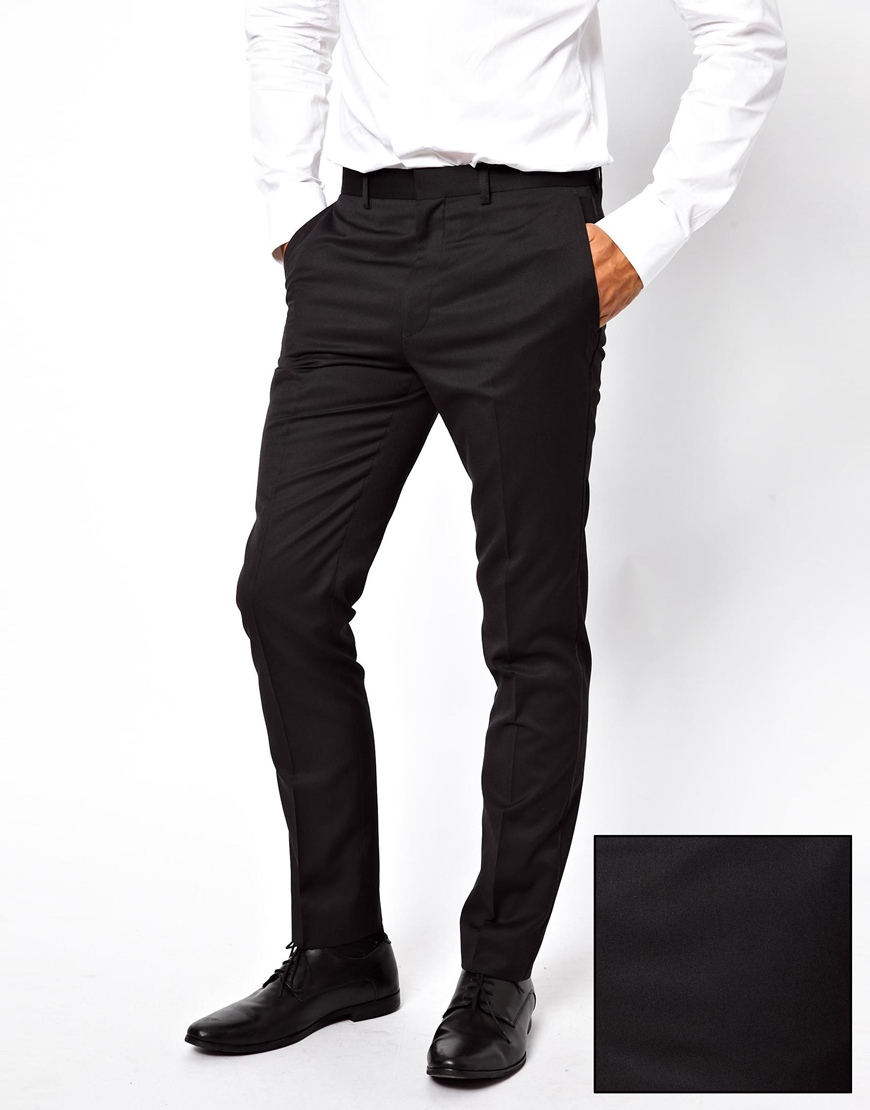 French connection Slim Fit Tuxedo Suit Trouser in Black for Men | Lyst