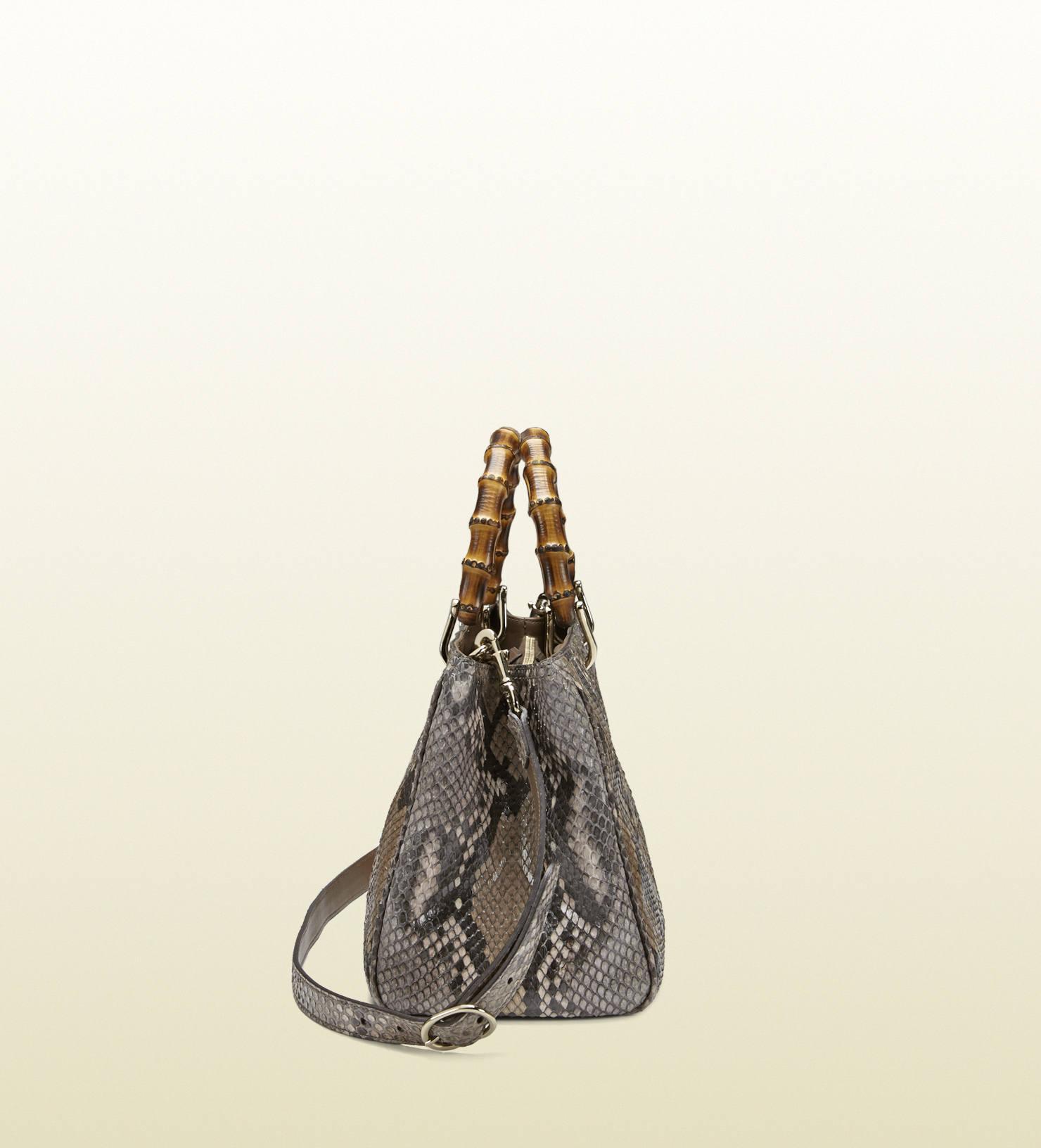 ef3b2662975b49 Gucci Bamboo Shopper Python Tote in Brown - Lyst