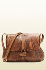 Gucci Hip Bamboo Python Flap Shoulder Bag - Lyst