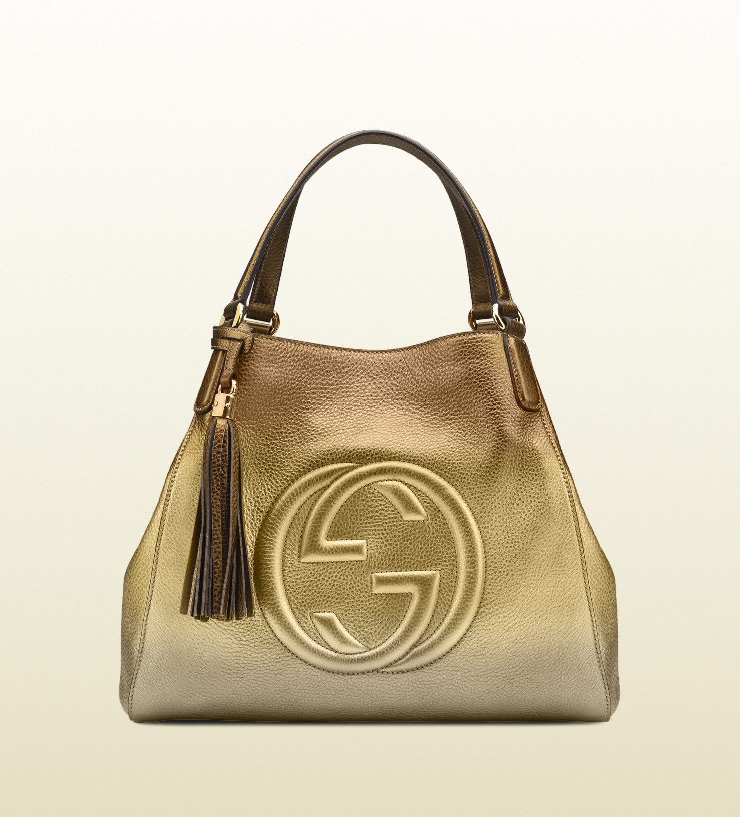 lyst gucci soho shaded leather shoulder bag in metallic