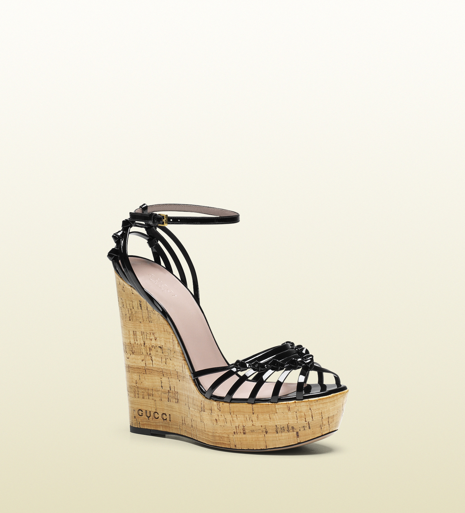 Lyst Gucci Alice Patent Leather High Heel Wedge Sandal