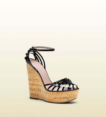Gucci Alice Patent Leather Highheel Wedge Sandal - Lyst