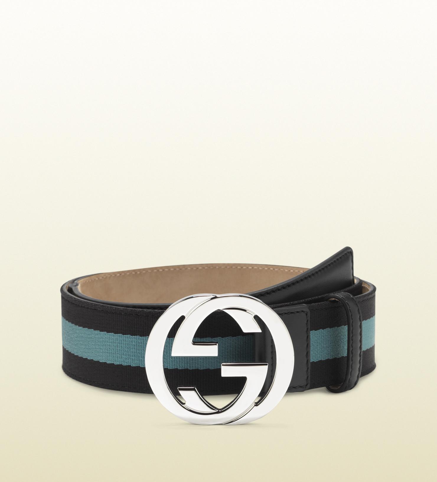 25d1add68ba6 Gucci Nylon Web Belt with Interlocking G Buckle in Blue for Men - Lyst