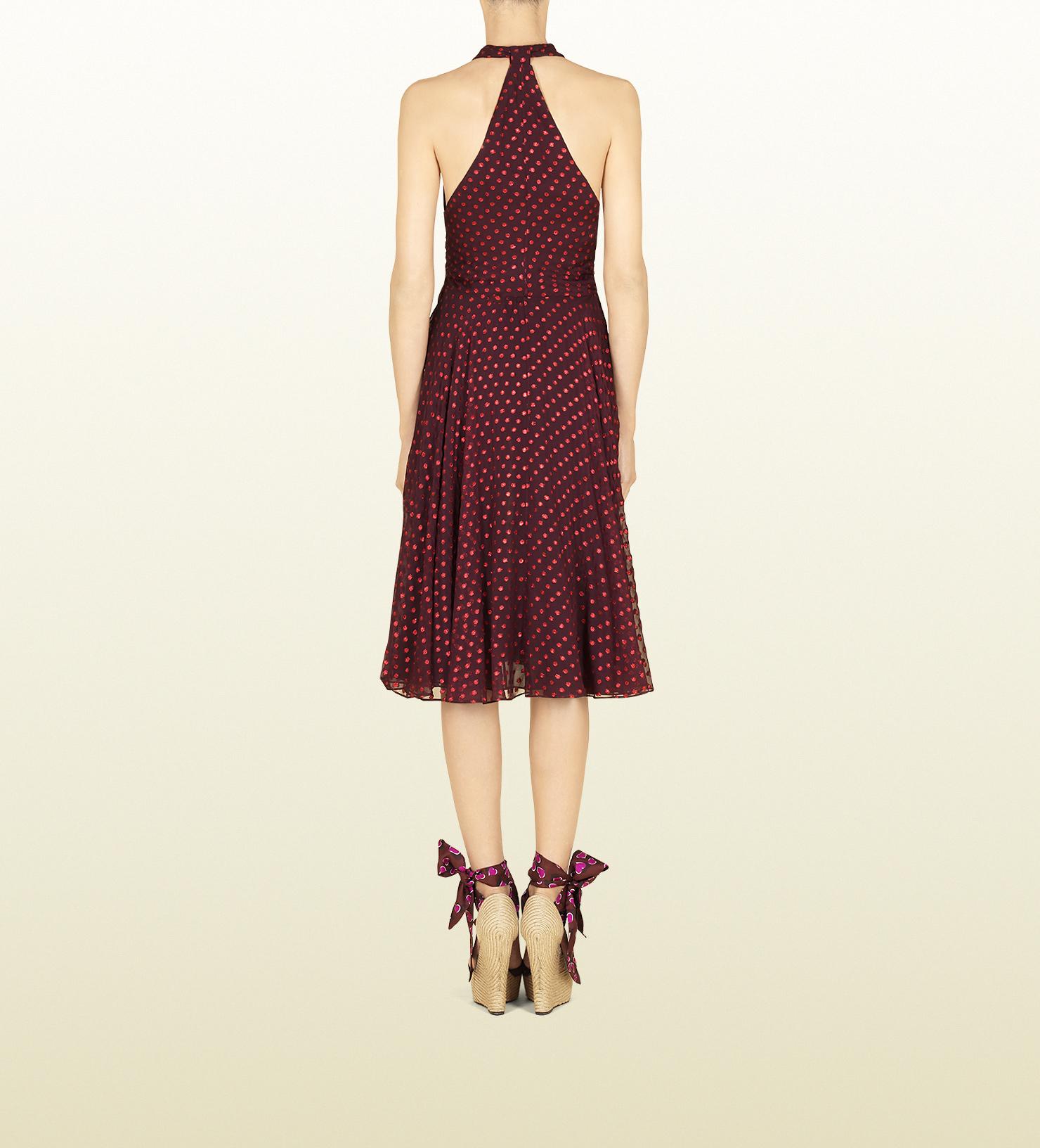 Lyst Gucci Bordeaux Silk Chiffon Polka Dot Dress In Purple