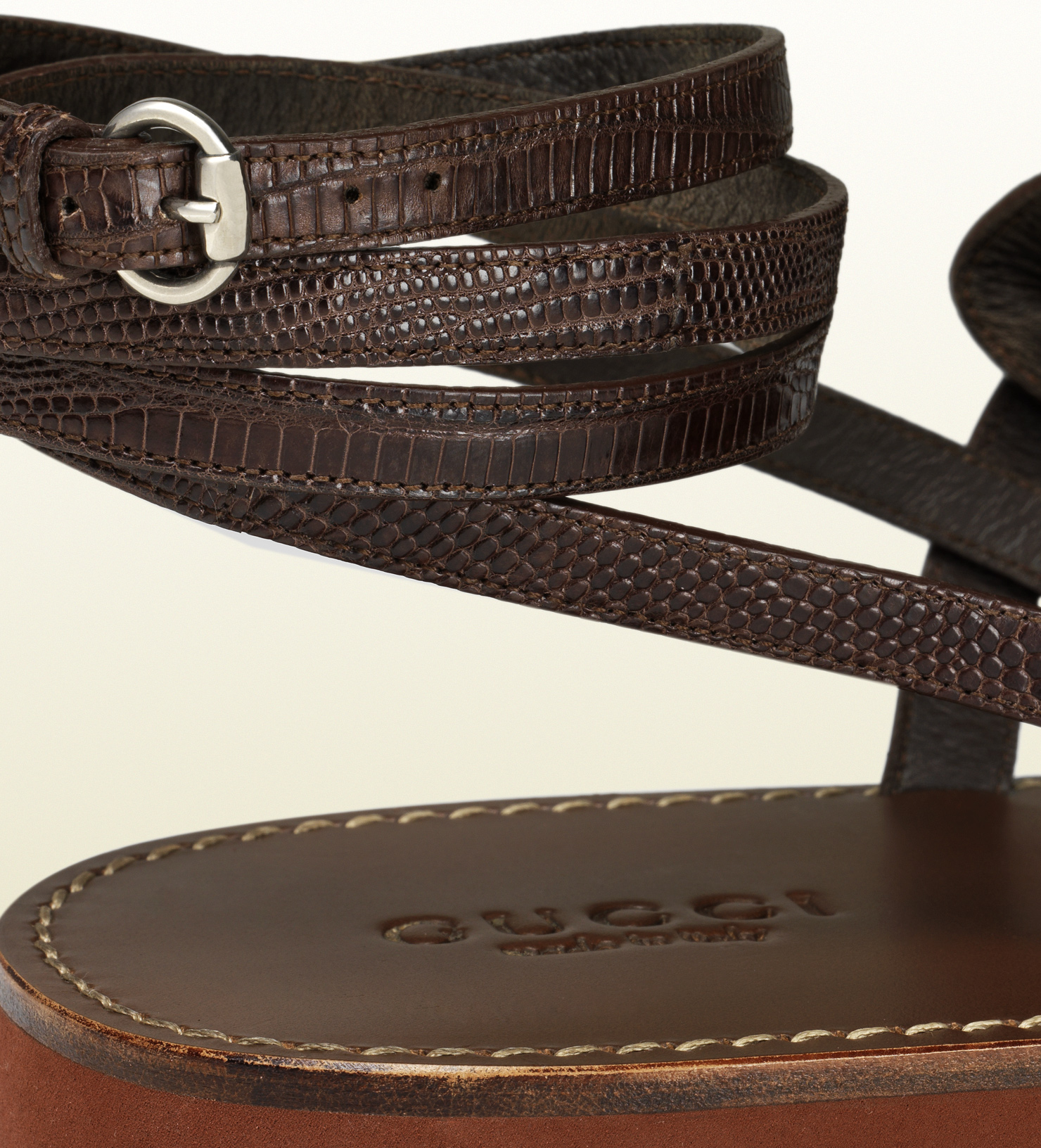 Lyst Gucci Leather Ankle Strap Sandal In Brown For Men