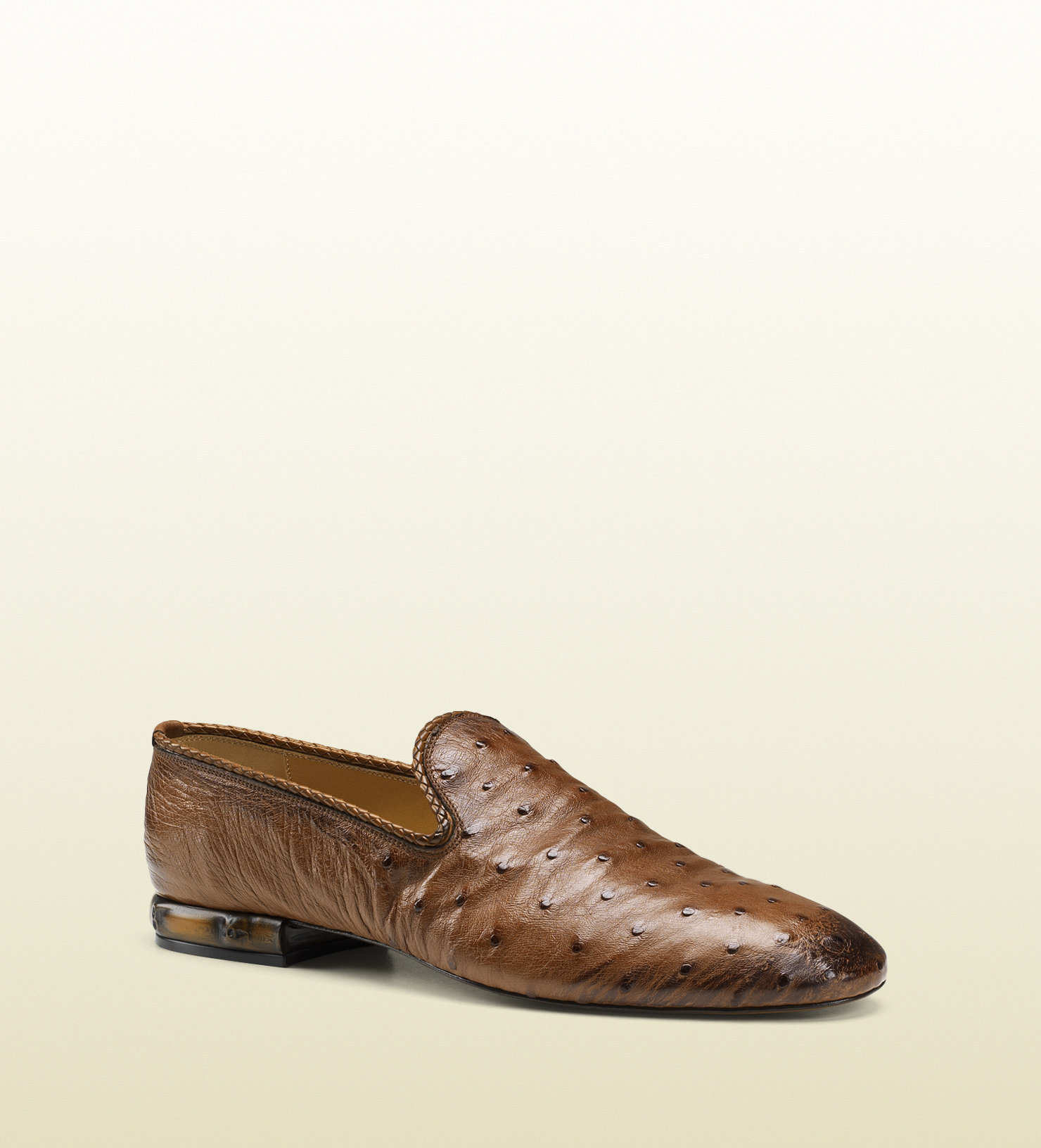 dfa2f7343d8 Gucci Ostrich Loafer with Leather Piping in Brown for Men - Lyst