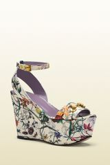 Gucci Flora Leather Midheel Wedge Sandal - Lyst