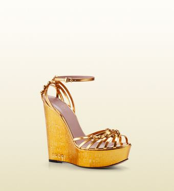 Gucci Alice Metallic Leather High-heel Wedge Sandal - Lyst