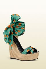 Gucci Carolina Heartbeat Satin Tie Wedge Sandal - Lyst