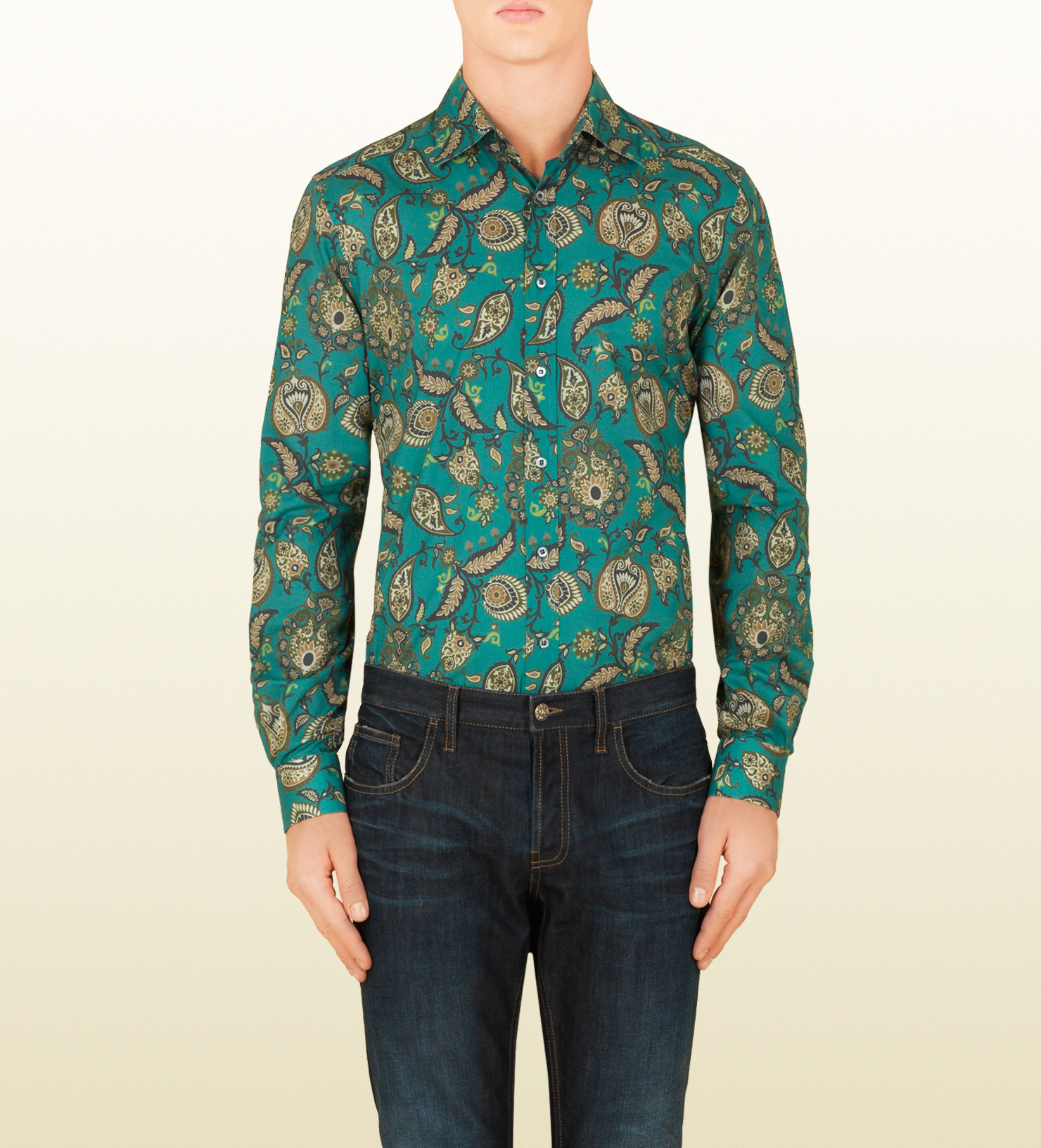 Lyst Gucci Paisley Print Fitted Shirt In Green For Men