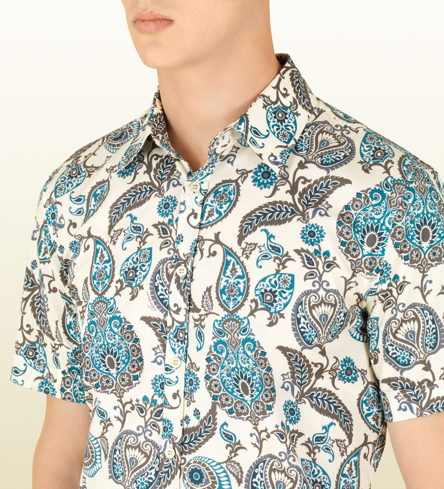 5febe29d Gucci Paisley Print Short Sleeve Buttondown Shirt in Blue for Men - Lyst