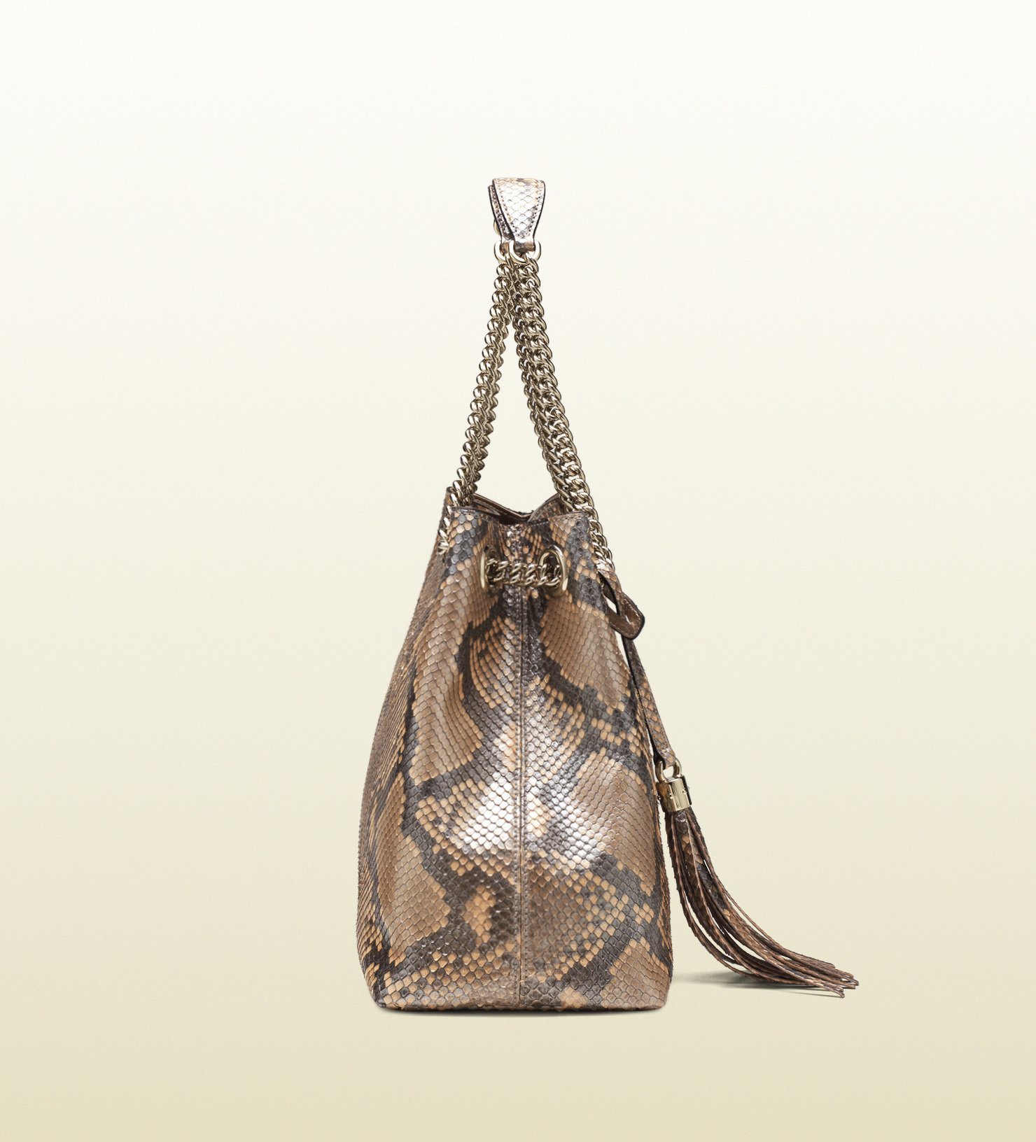 4e70ac98f Gucci Soho Metallic Python Shoulder Bag in Brown - Lyst