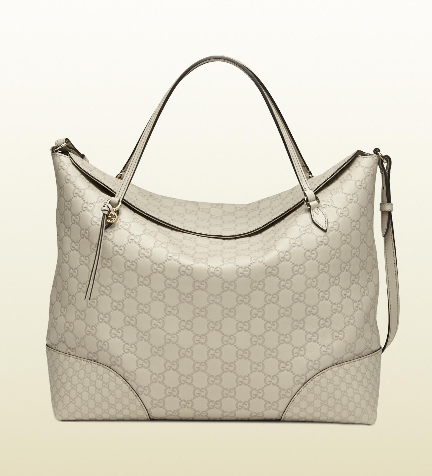 5f5fe0a03 Gucci Bree Ssima Leather Tote in Gray - Lyst
