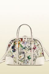 Gucci Nice Flora Leather Top Handle Bag - Lyst