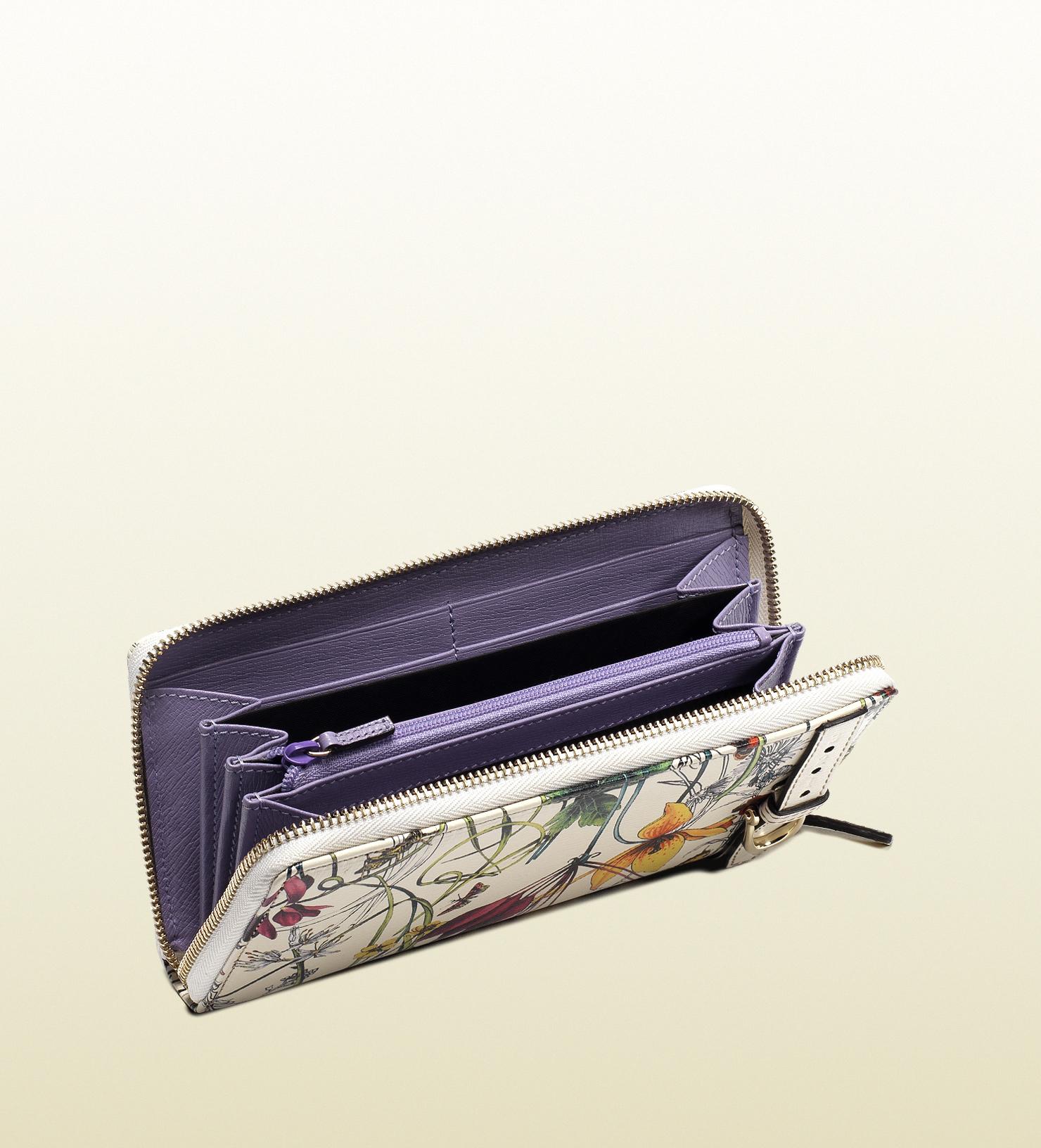 f09bcbdcfcd Lyst - Gucci Nice Flora Leather Zip Around Wallet in White