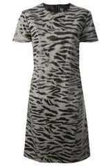McQ by Alexander McQueen Zebra Print Dress - Lyst