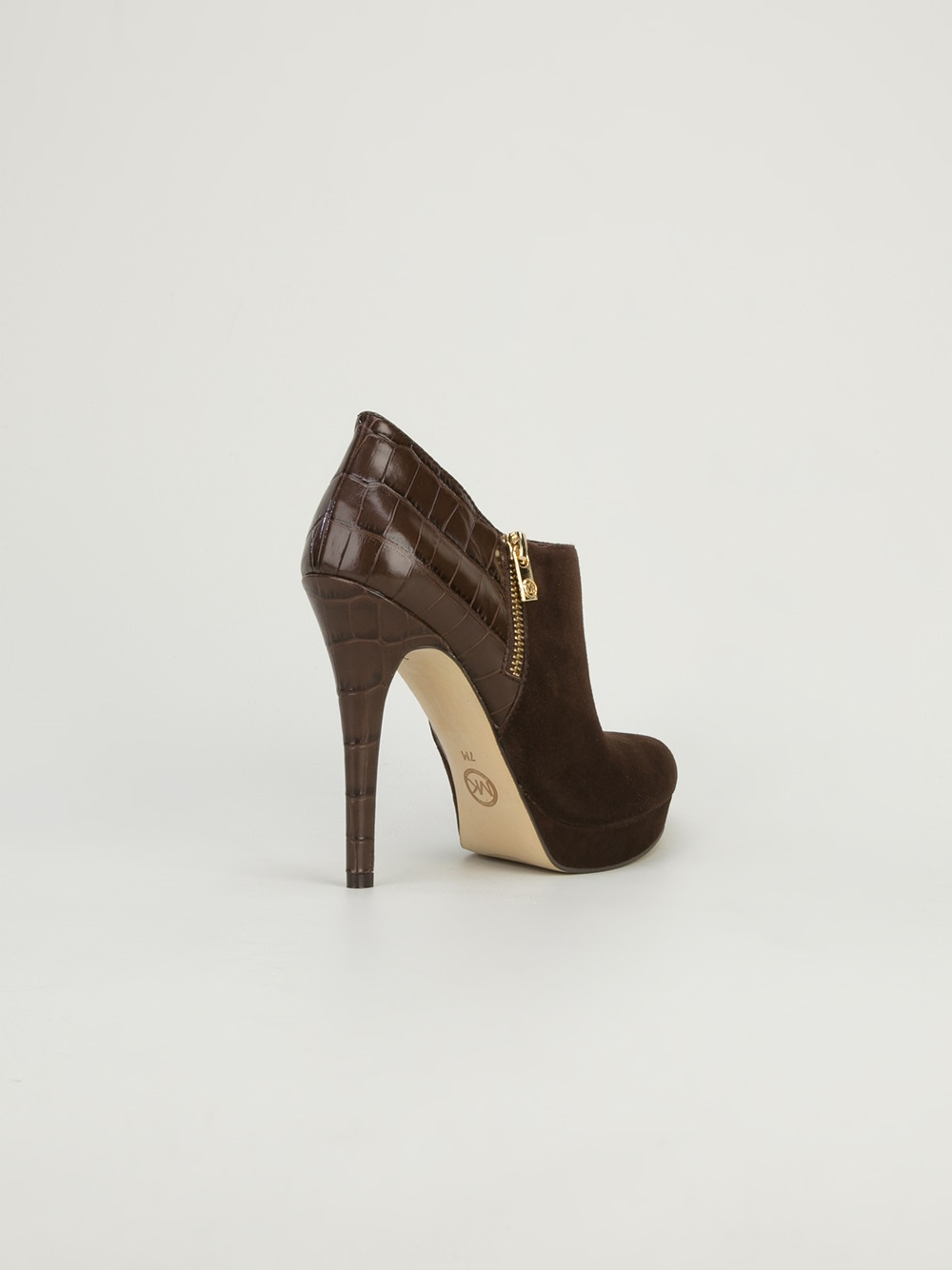 michael michael kors highheeled ankle boot in brown lyst