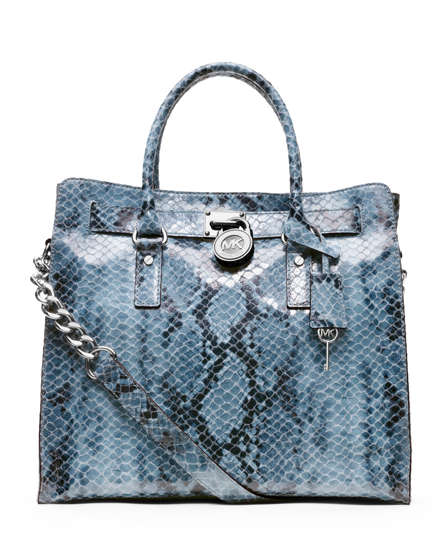 9e81ebdaa0de Michael Kors Michael Large Hamilton Python-print Tote in Blue - Lyst
