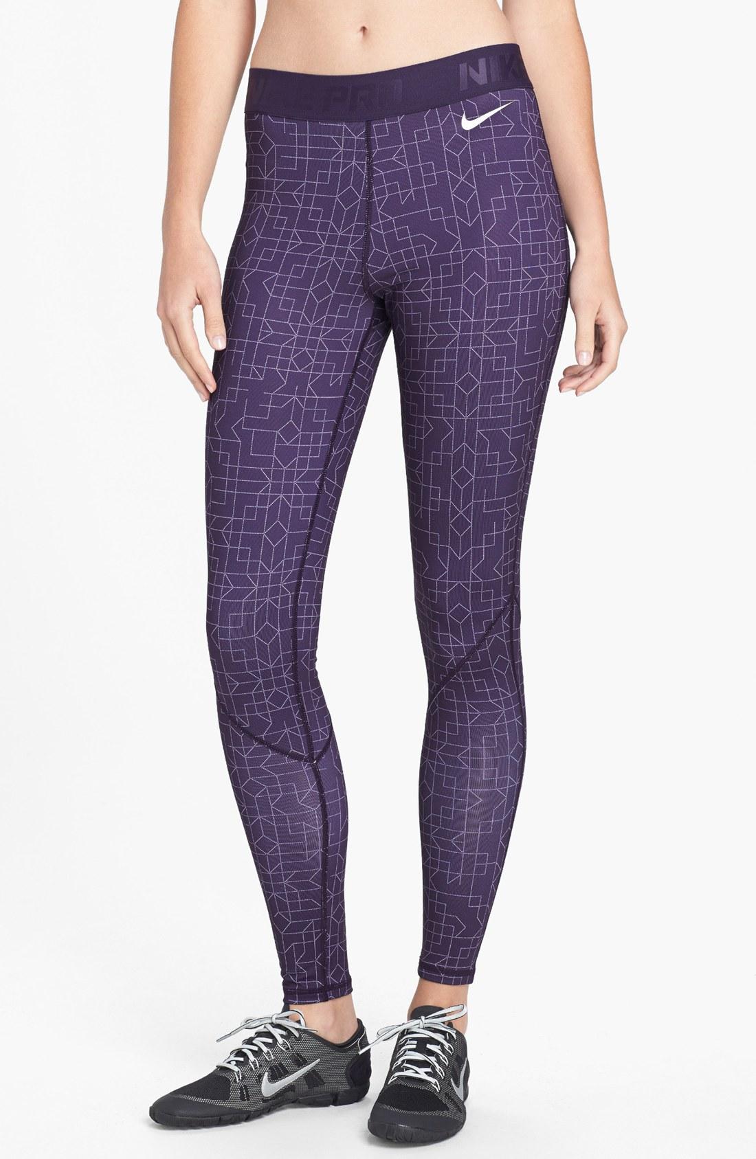 nike pro hyperwarm tights in purple purple dynasty. Black Bedroom Furniture Sets. Home Design Ideas