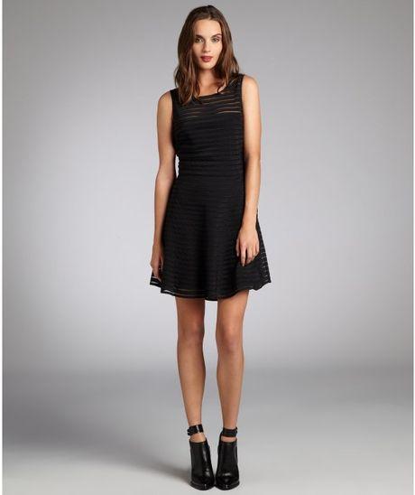 Parker Black Silk Sheer Yoke Eyelash Fit And Flare Dress