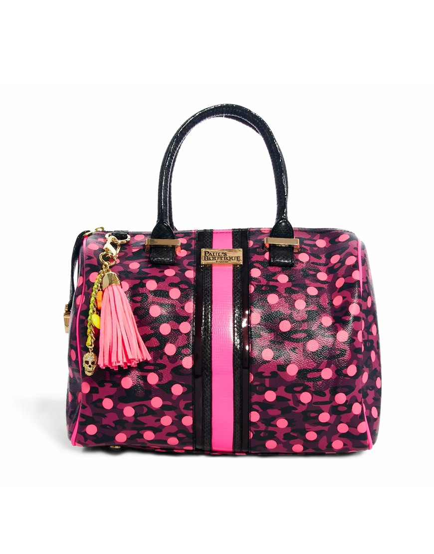 Just female Pauls Boutique Molly Animal Spot Bowling Bag in Pink ...