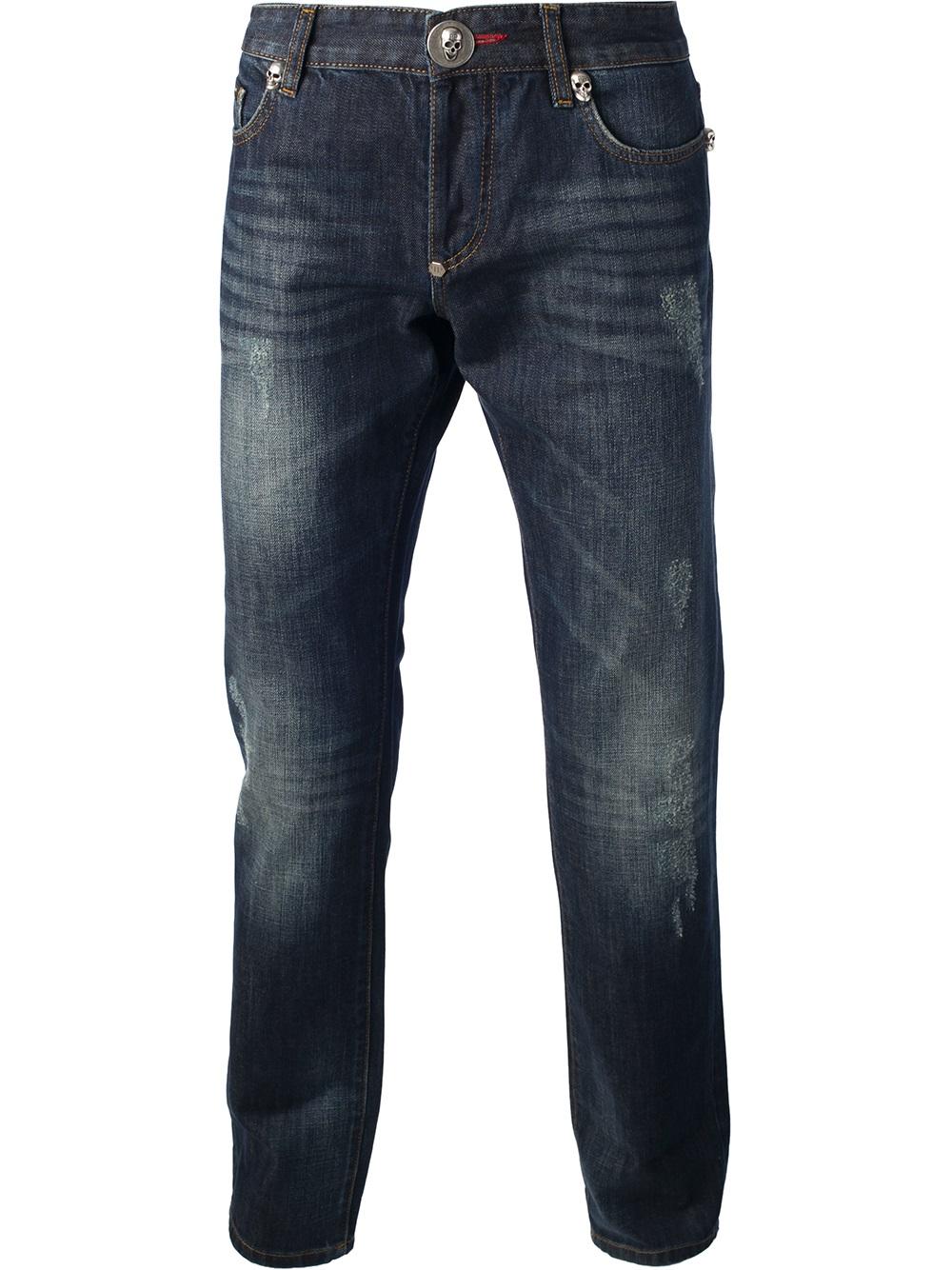 philipp plein skull detail jeans in blue for men lyst. Black Bedroom Furniture Sets. Home Design Ideas