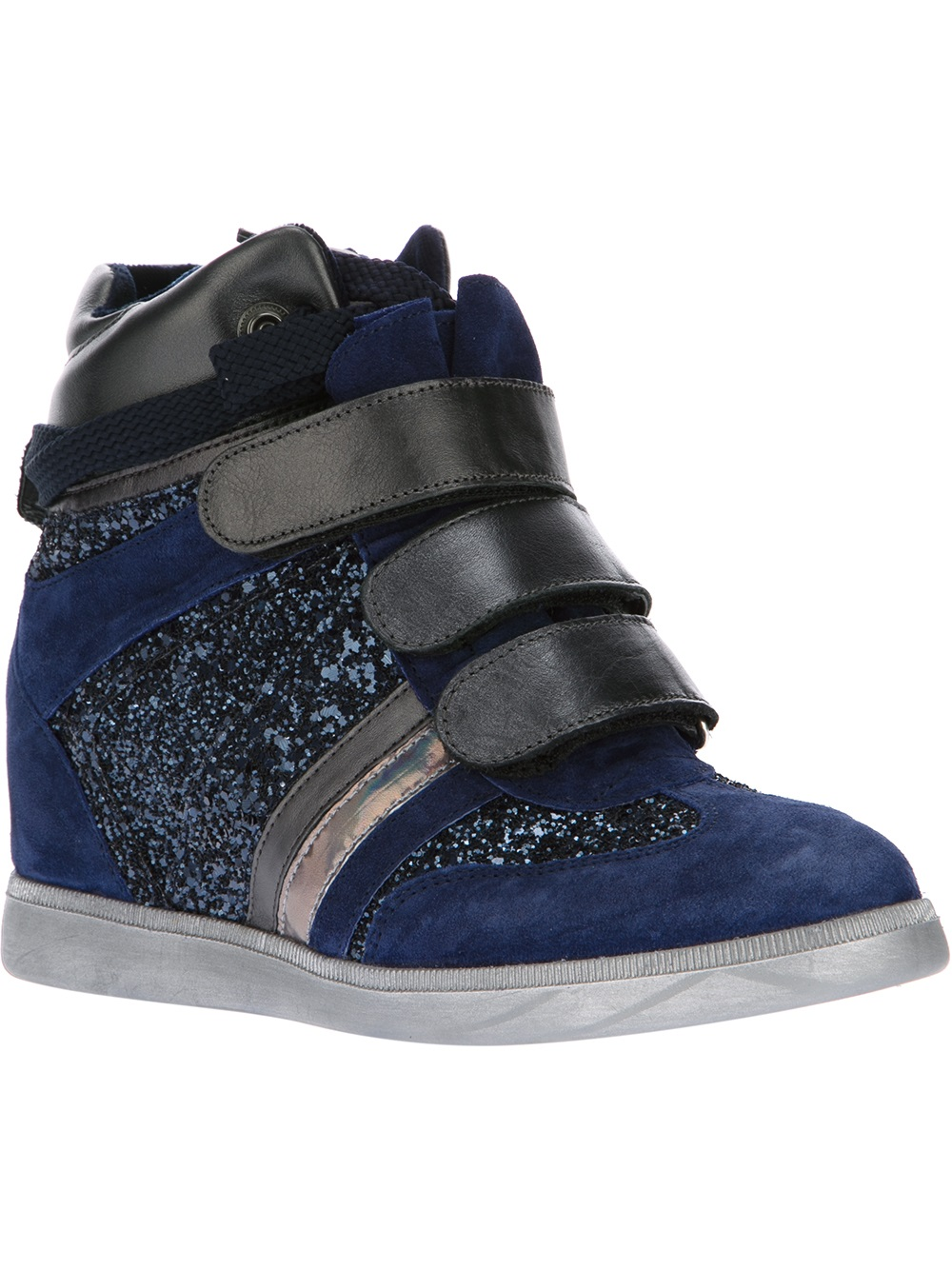 Lyst Serafini Glitter Wedge Inside Sneaker In Blue