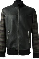 S.w.o.r.d Checked Leather Bomber Jacket - Lyst