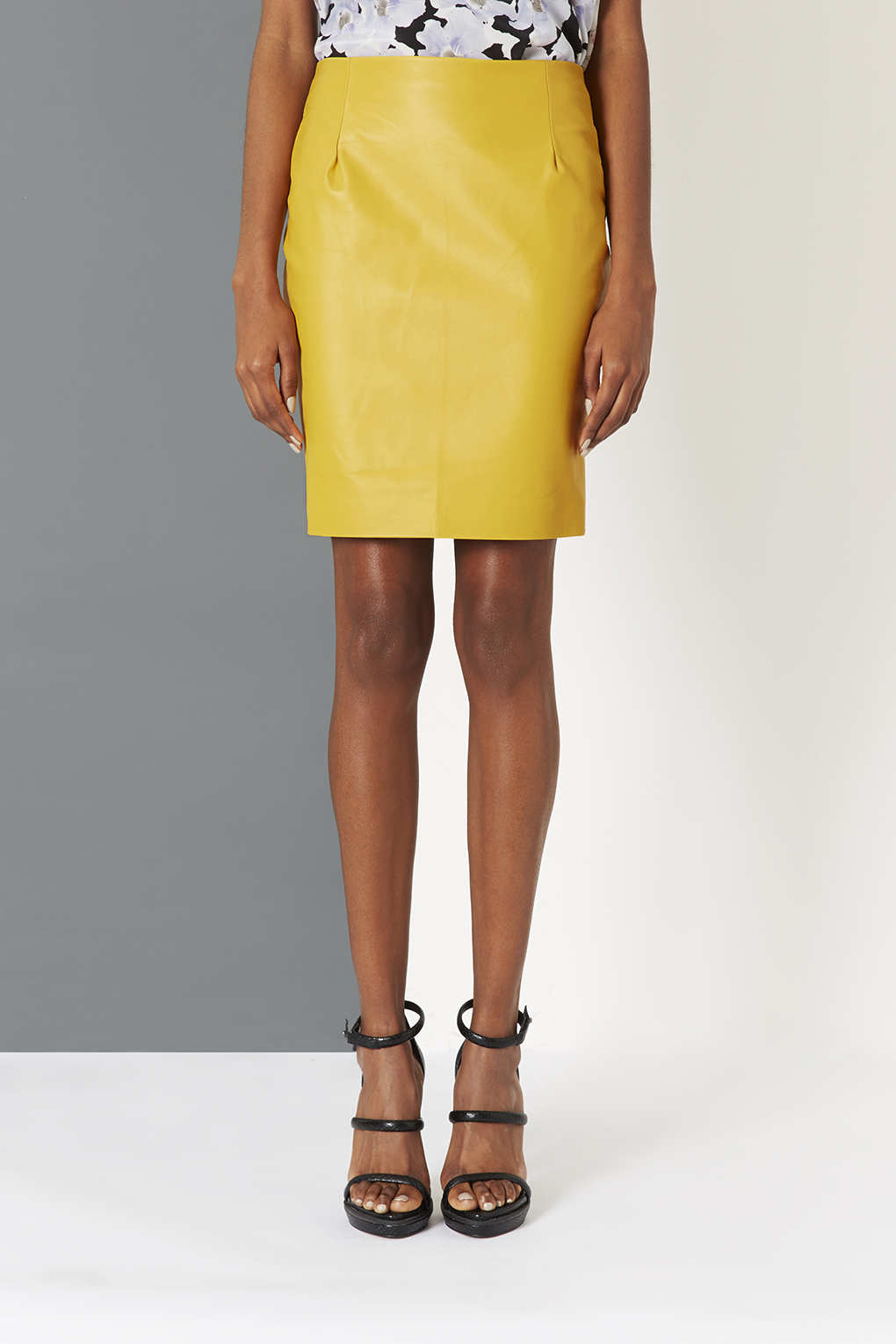 Topshop Yellow Leather Pencil Skirt By Boutique in Yellow | Lyst