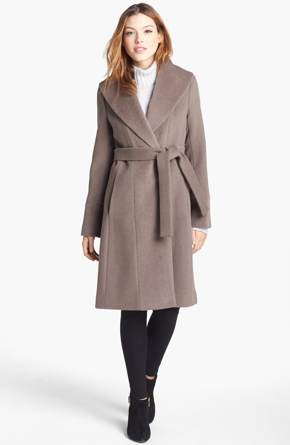 Trina Turk Julia Wool Alpaca Trim Wrap Coat In Brown