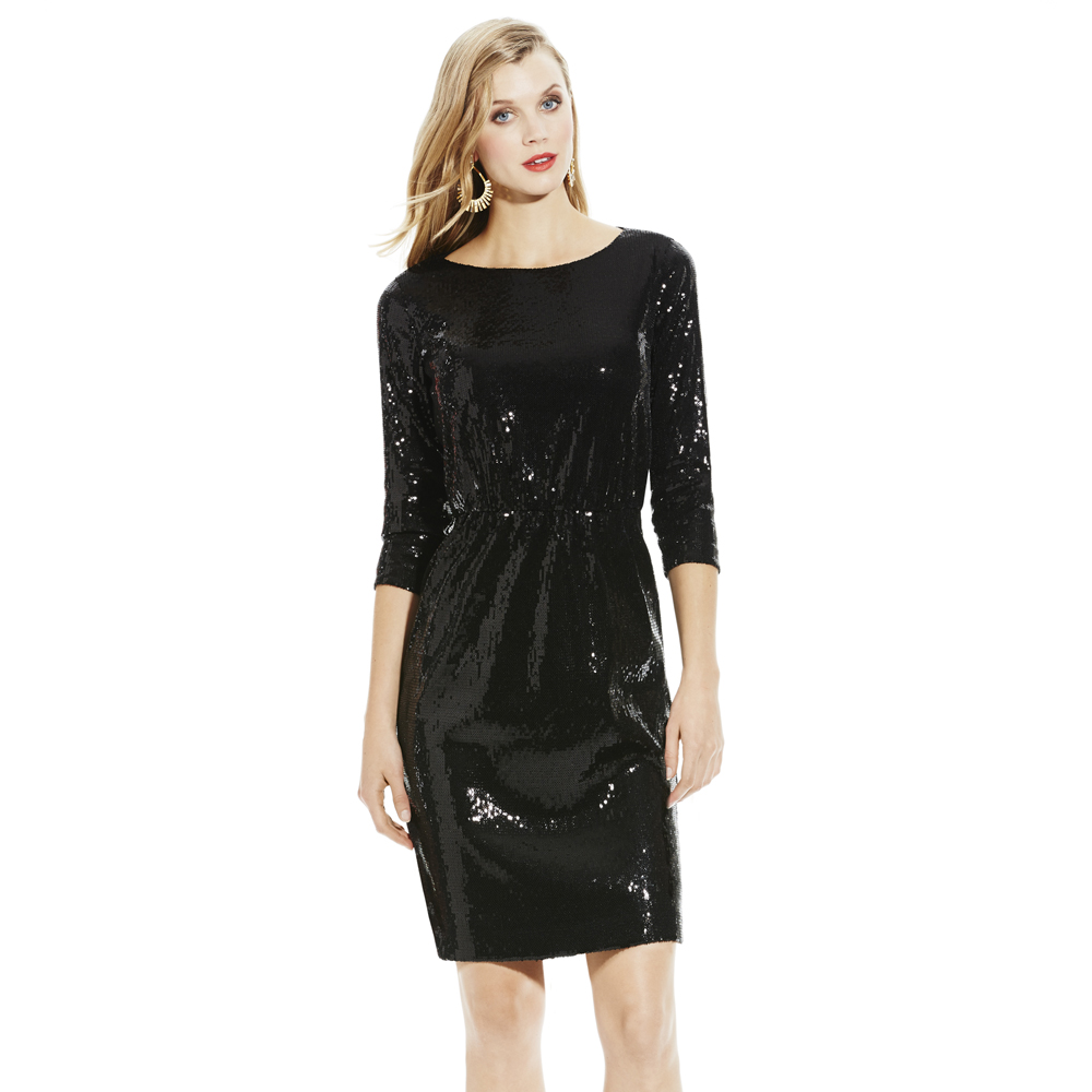 682f5989db5a Vince Camuto Sequin Dress with Lace in Black - Lyst