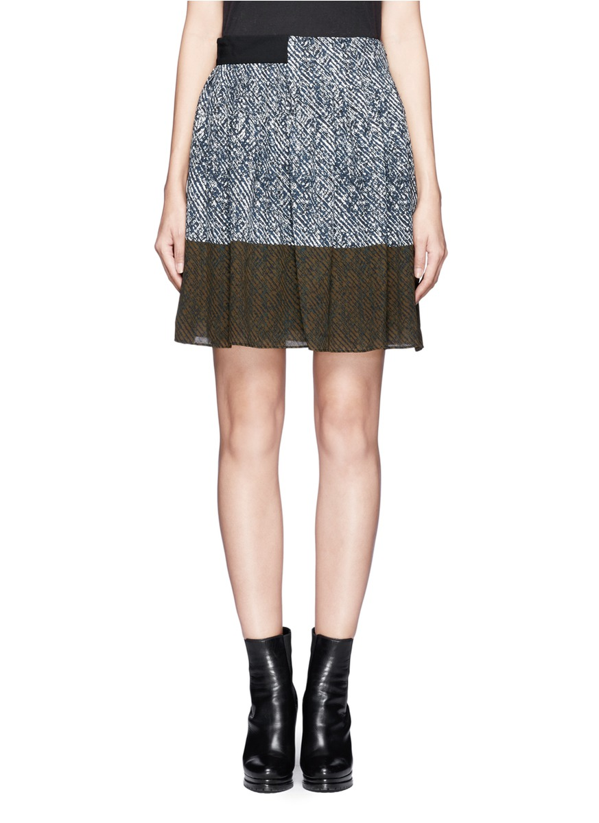 2382f0dd04 Whistles Maria Printed Pleated Skirt in Blue - Lyst