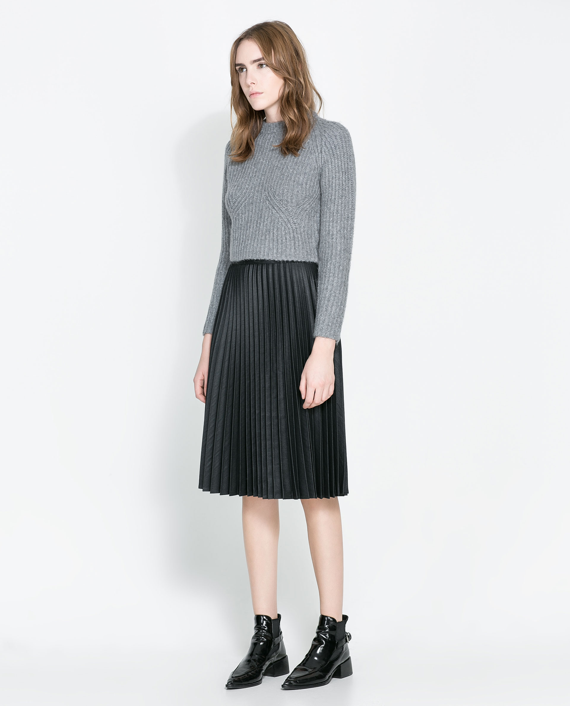 Zara Pleated Midi Skirt in Black | Lyst