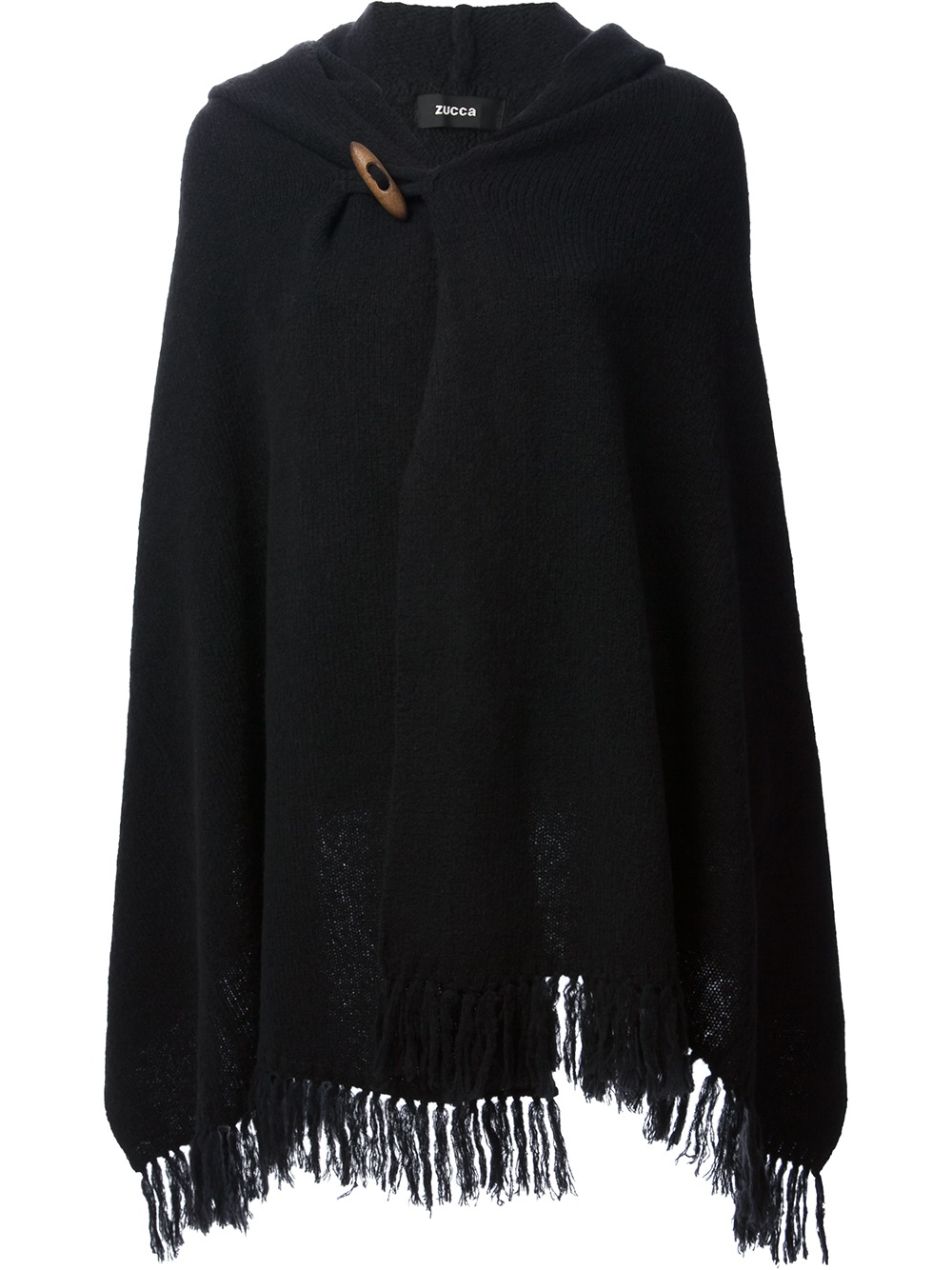 Lyst Zucca Hooded Poncho In Black