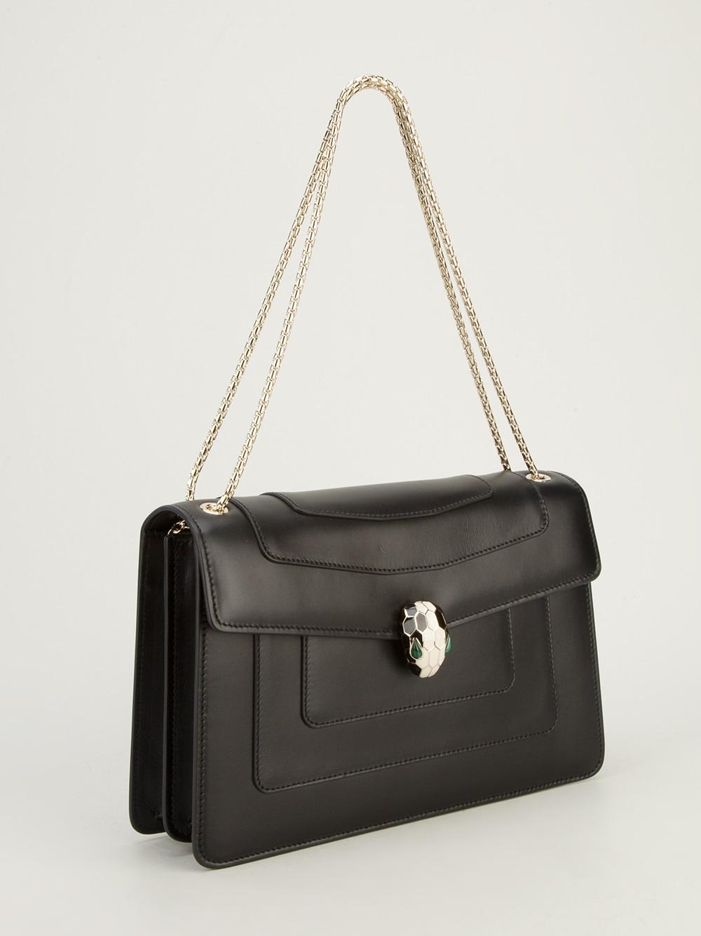 a49f42f7b7ef Lyst - BVLGARI Chain-Strap Leather Shoulder Bag in Black