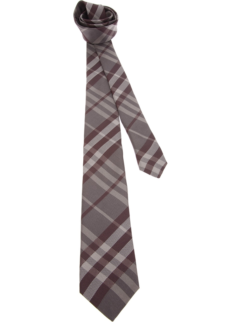 burberry check tie in gray for grey lyst