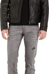 Dolce & Gabbana Grained Leather Moto Jacket - Lyst