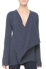 Donna Karan New York Ribbed Crossfront Sweater - Lyst
