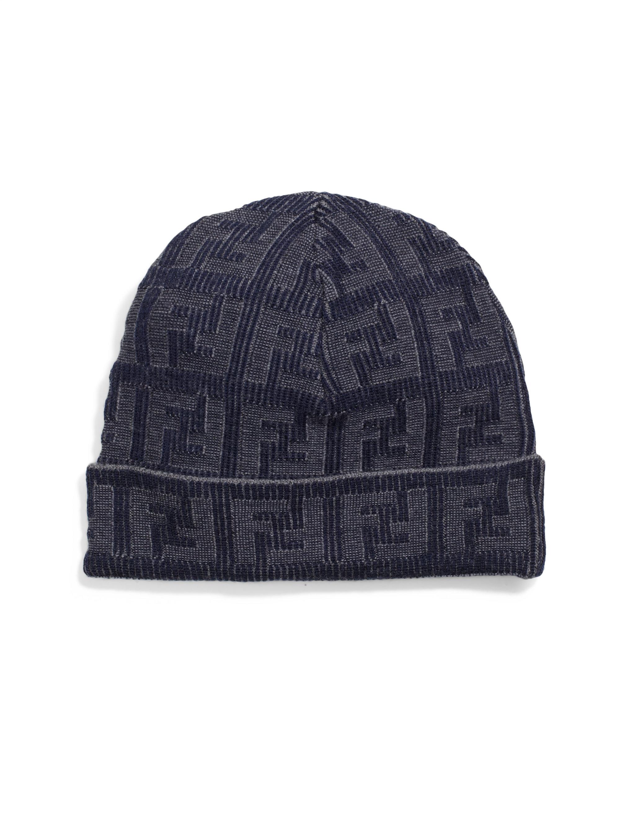 01a51d52674 Lyst Fendi Logo Knit Wool Hat In Blue For Men