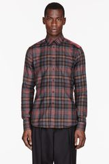 Givenchy Red and Grey Plaid Shirt - Lyst