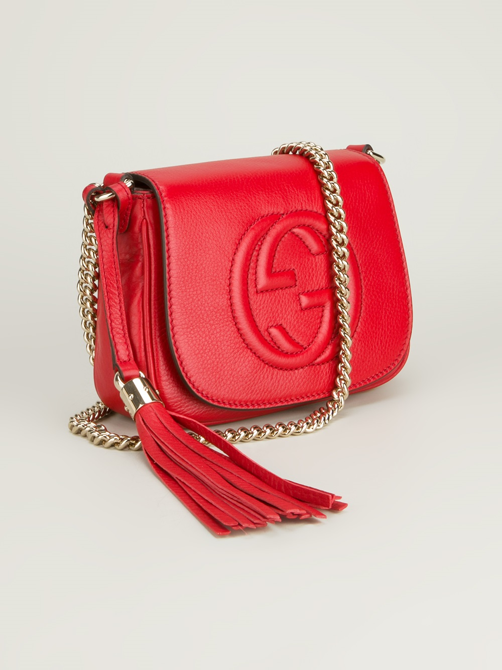 Lyst Gucci Soho Leather Shoulder Bag In Red