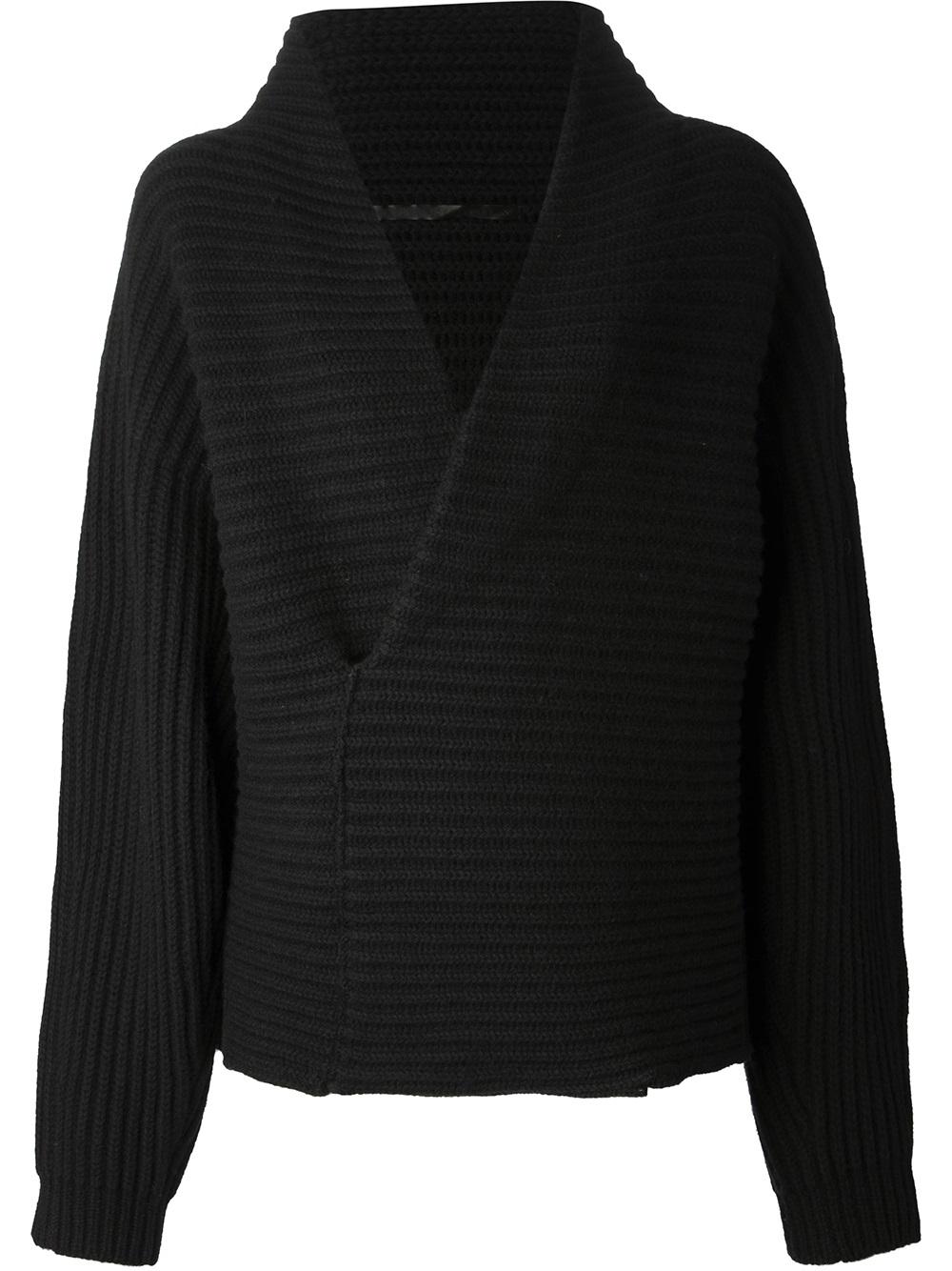 lyst haider ackermann shawl collar sweater in black. Black Bedroom Furniture Sets. Home Design Ideas