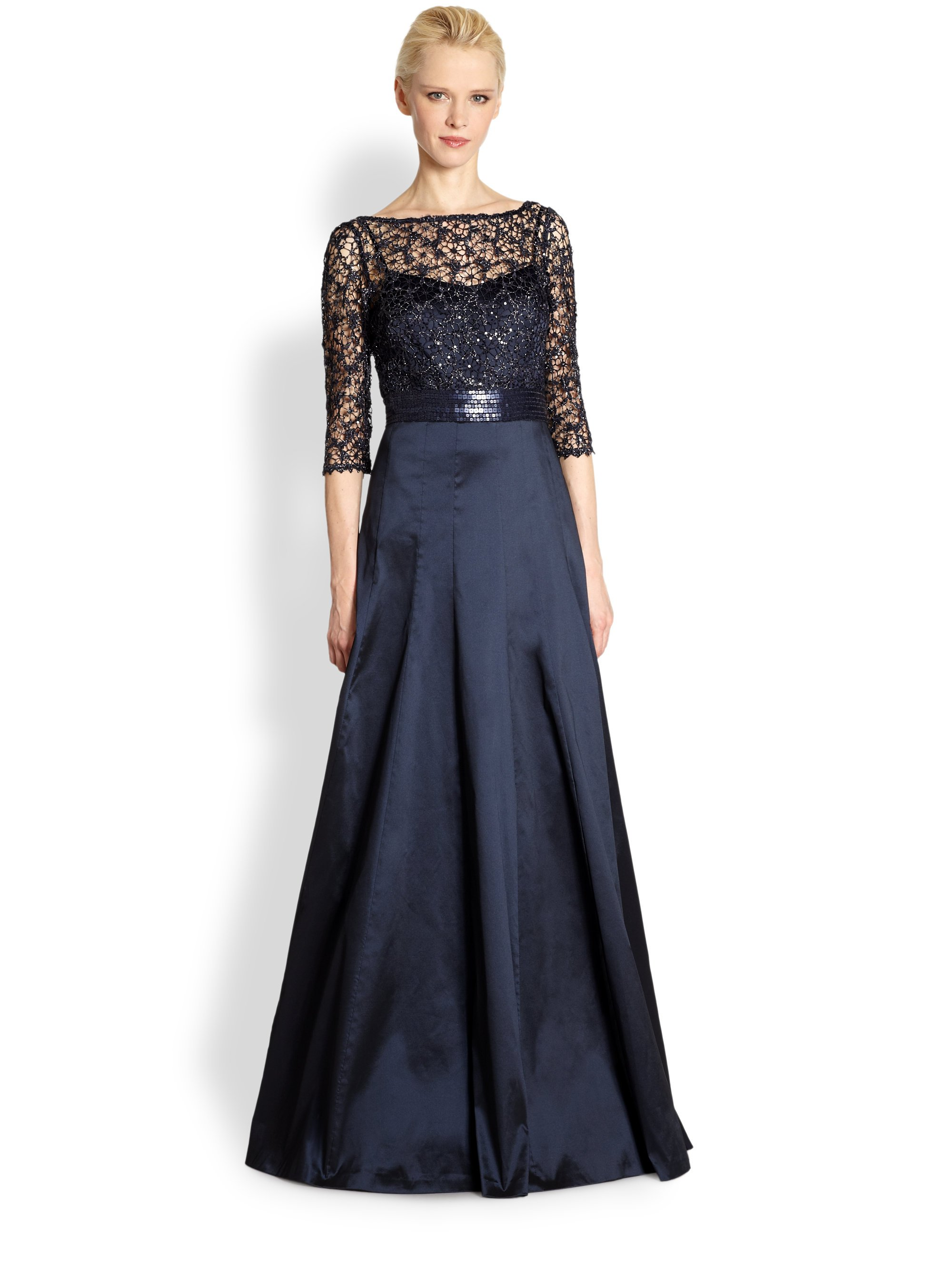 Lyst Kay Unger Lacebodice Evening Dress In Blue