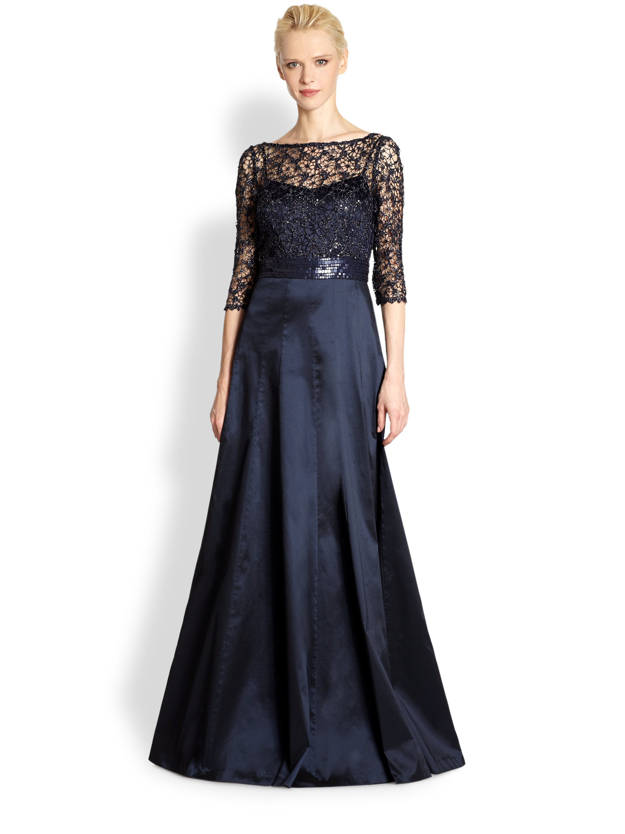 Kay unger Lacebodice Evening Dress in Blue | Lyst