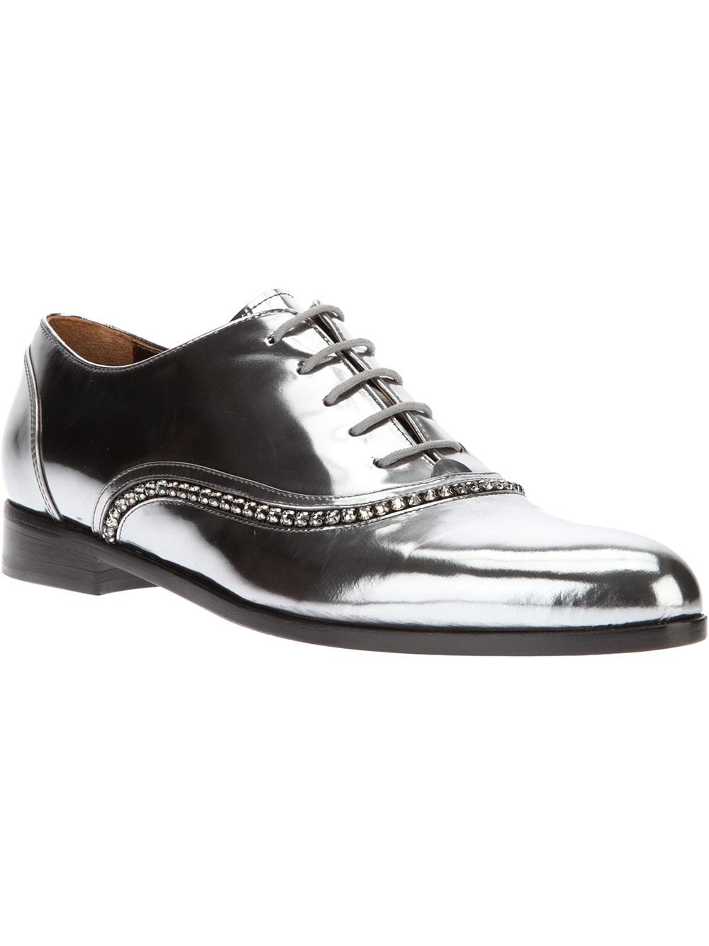 Lanvin Crystal Embellished Oxford Shoe In Silver (metallic) | Lyst