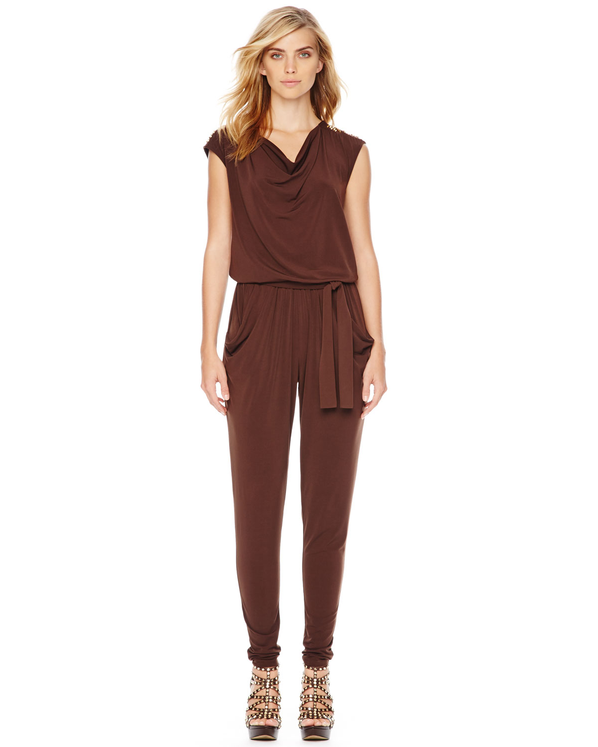 michael kors michael cowl neck jumpsuit in brown chocolate lyst. Black Bedroom Furniture Sets. Home Design Ideas