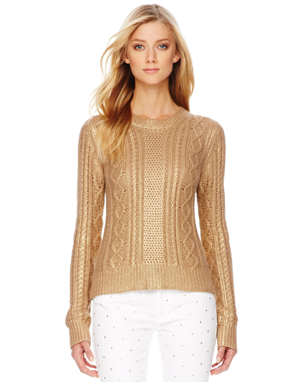 15121f1647 Lyst - Michael Kors Metallic Cable Knit Sweater in Metallic