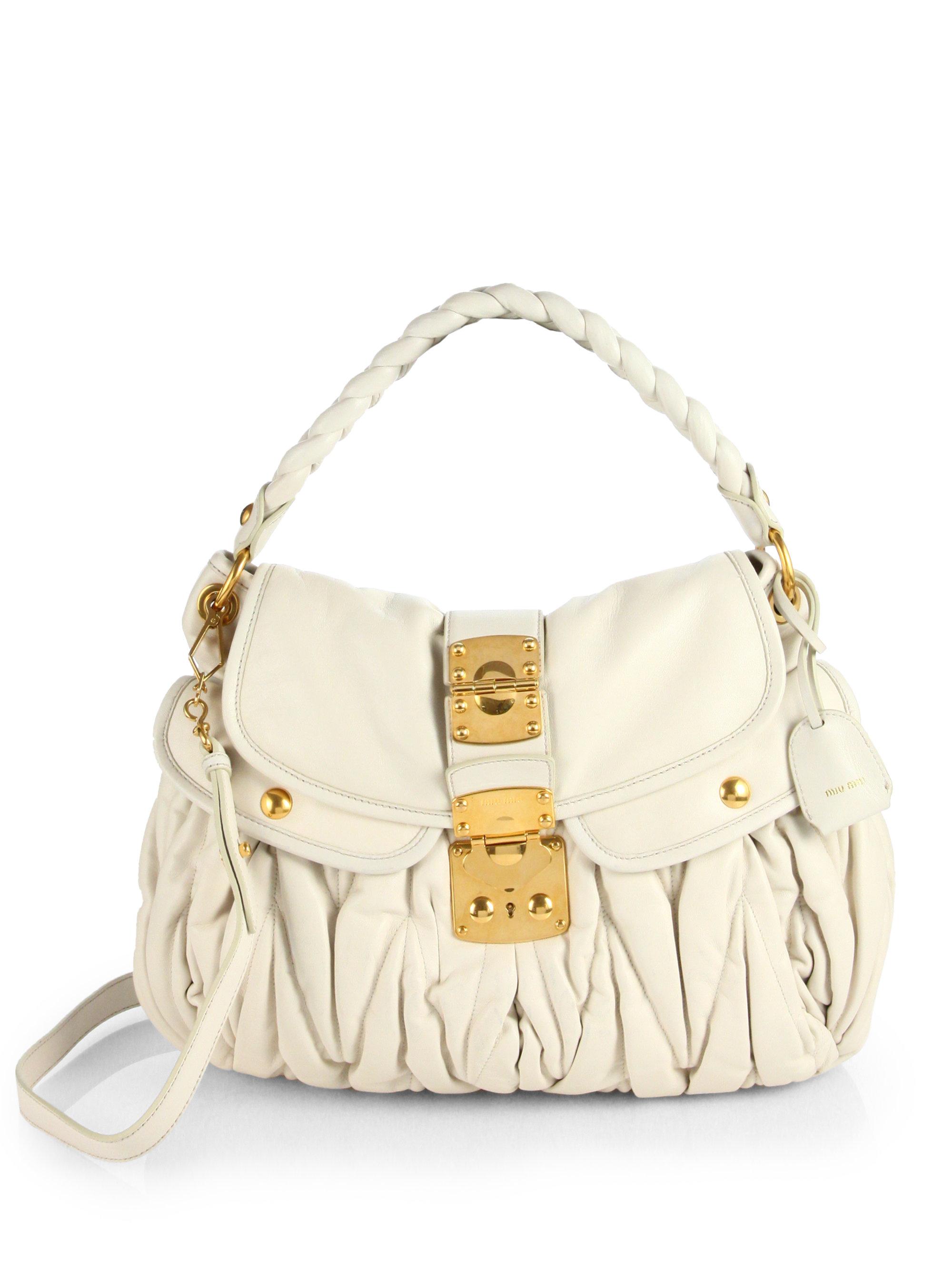 Miu Miu Matelasse Leather Shoulder Bag in White - Lyst 92416633fe5b0